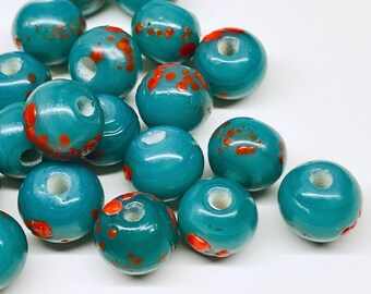 20pcs 8mm Teal Blue Speckled Glass Beads Orange Blue Lampwork Beads India