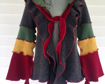 Handmade Upcycled Bell Sleeve Colorful Red Yellow Green Grey Wool Festival Sweater Jacket Coat Pixie Hood Large OOAK Gypsy Elf