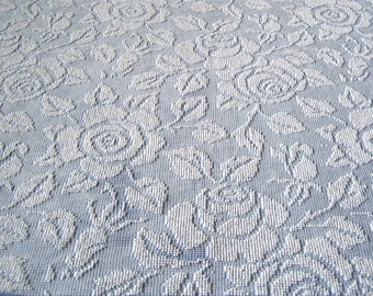 """Blue and White Fieldcrest Imperial Rose Hobnail Vintage Chenille Bedspread Fabric 36"""" x 31"""""""