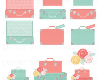 Travel Clip Art Suitcase Clipart Bon Voyage Party Vacation Flower