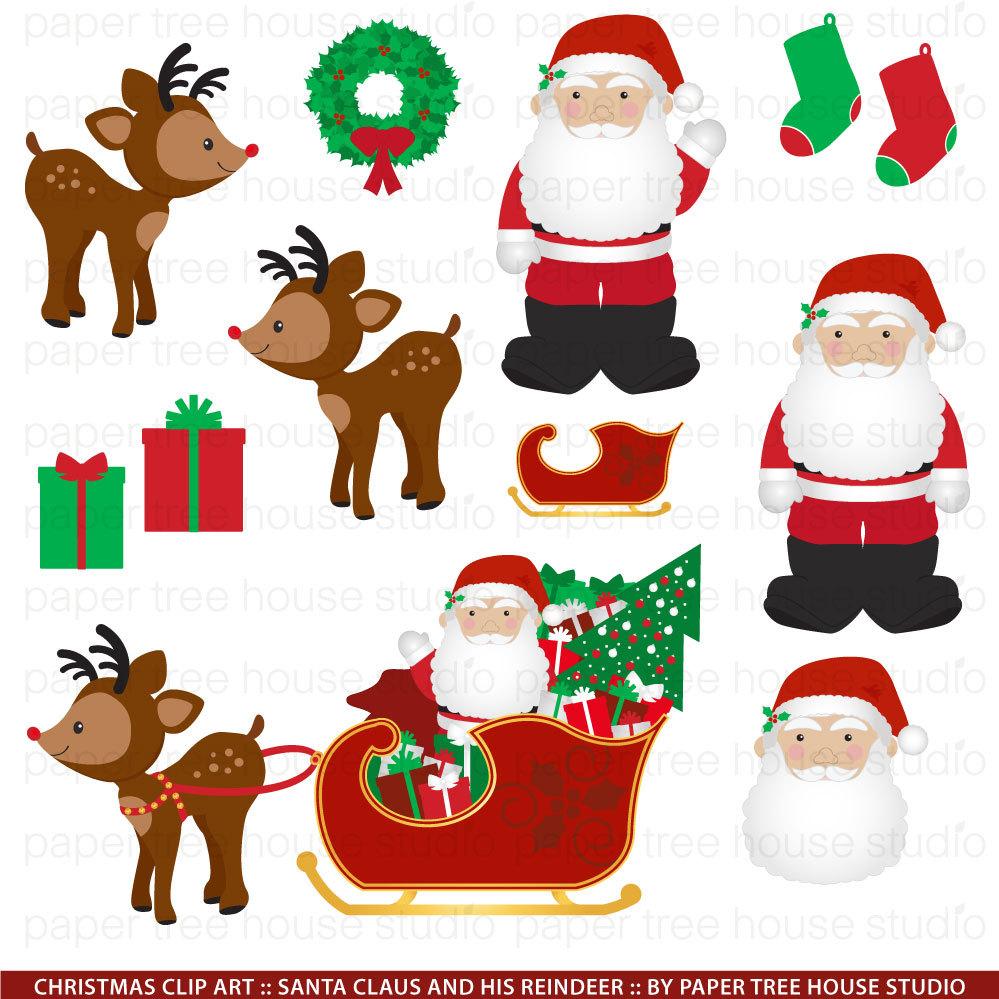 Weihnachten ClipArt. Santa Claus ClipArt. Rentier ClipArt.   Etsy
