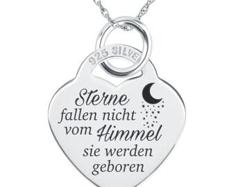 Sterne fallen nicht vom Himmel sie werden geboren Necklace (can be personalised/engraved)