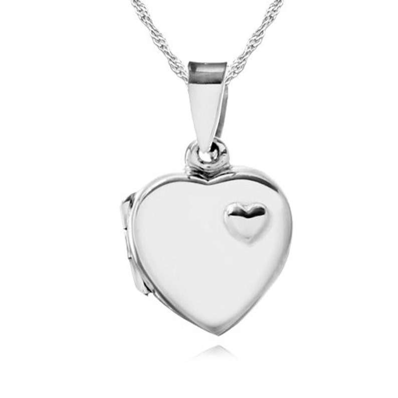 e5efcd3b0b414 Ladies Childs Small Heart Locket Necklace 925 Sterling Silver Raised Heart  (can ... Ladies Childs Small Heart Locket Necklace 925 Sterling Silver  Raised ...