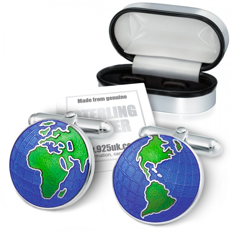 Colour Enamel /& 925 Sterling Silver Globe Cufflinks Personalised World Map Europe America Traveller Asia