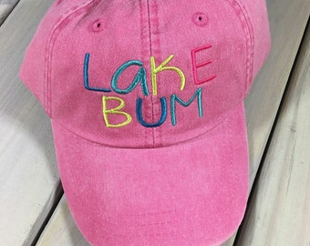 0b50fa21a4d LAKE BUM embroidered pigment dyed baseball cap - cute font