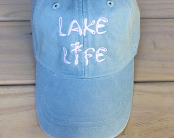 24bb64232df Lake Life Embroidered Light Blue Pigment Dyed Baseball Cap