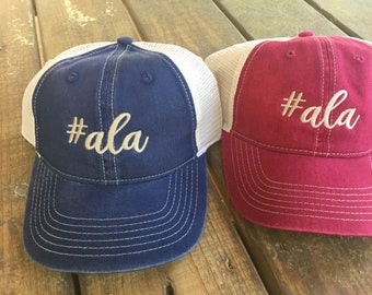 0ca1b691805 ala Alabama Machine Embroidered Cute Font Monogrammed Trucker Baseball Cap  Navy or Red