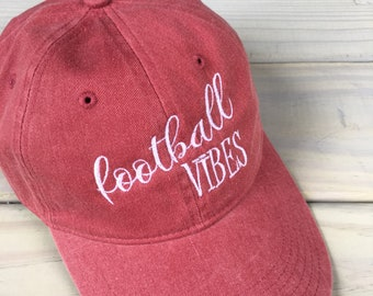 be0f9bd491f Football Vibes Monogrammed Embroidered Crimson Baseball Cap