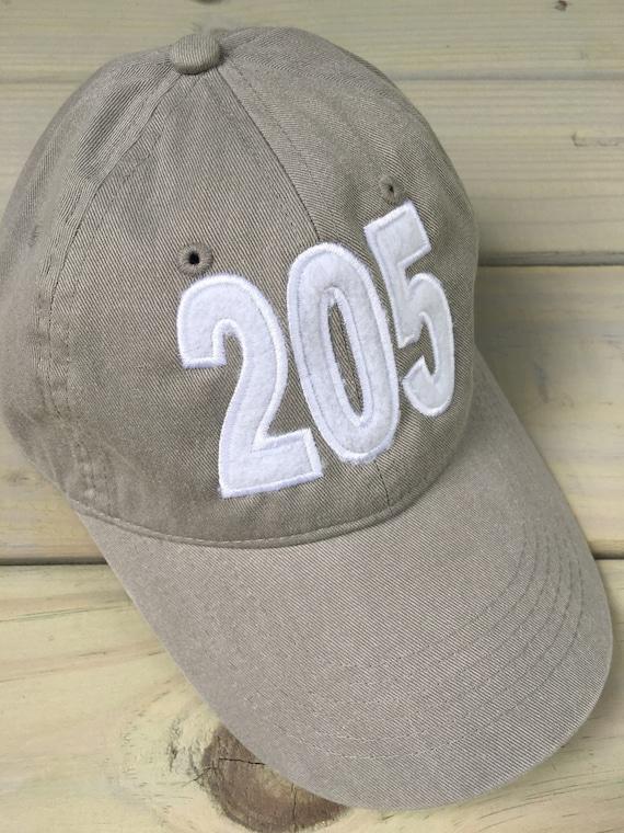 ac7dbb1f3c9 205 Area Code Gray Applique  Monogrammed Baseball Cap