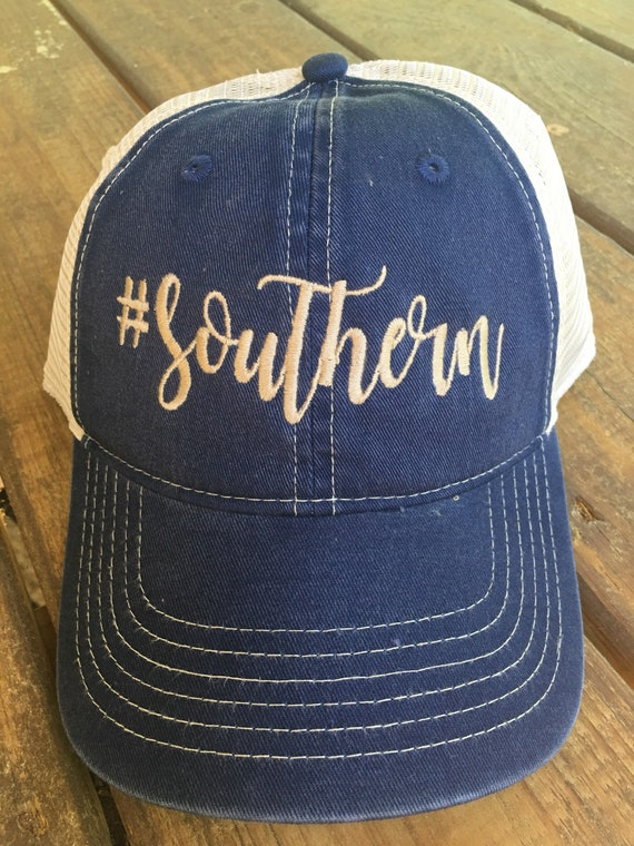 8edfa775fd4 Southern hashtag Embroidered Denim Baseball Trucker Cap