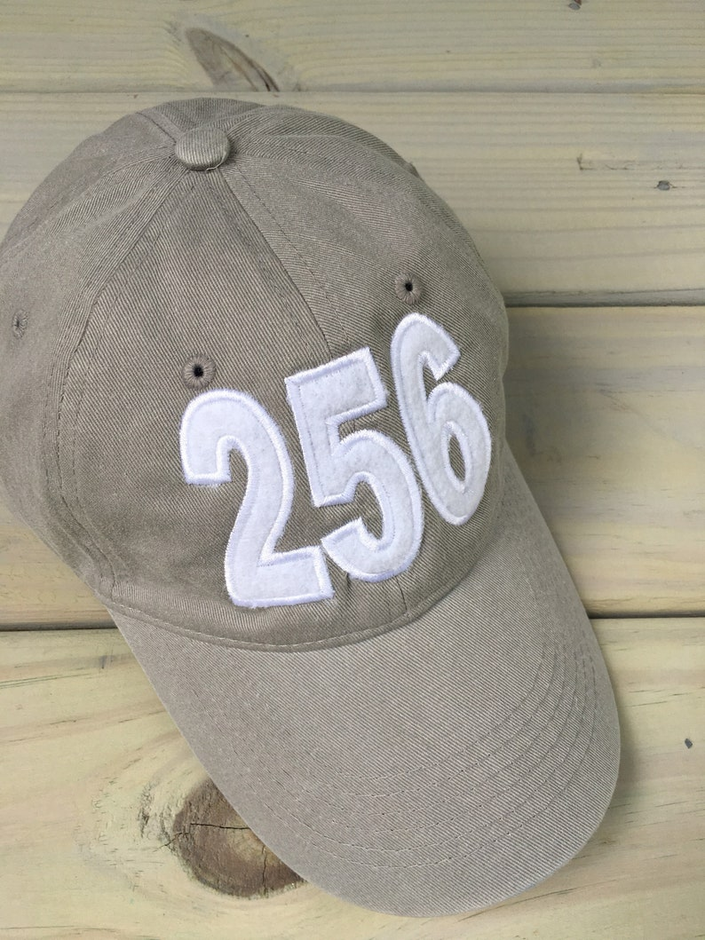 256 Area Code Gray Applique/monogrammed Baseball Cap
