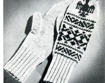 1960's Fair Isle Mittens Set Knitting Pattern Instant Download PDF