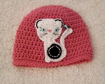 Pink Crochet Kitten Hat