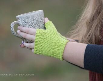 Hand Knit Fingerless Texting Gloves   Key Lime