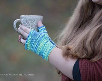 Hand Knit Fingerless Texting Gloves   Hawaii Reflection