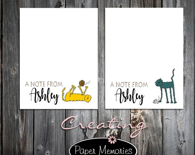 2 Cat Lovers Notepads - Personalized Stationery Set - Makes a great gift