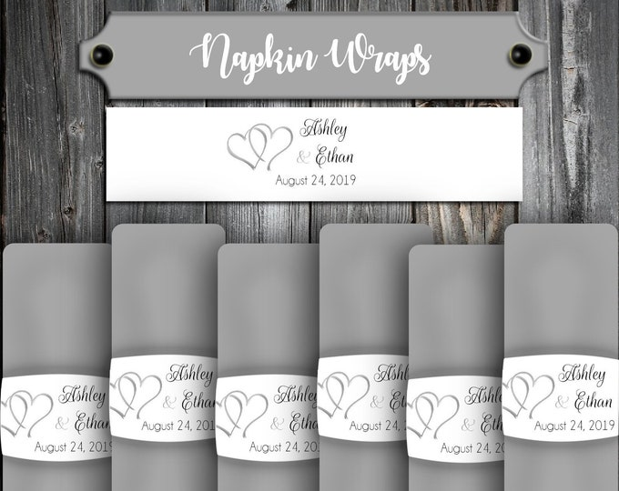 100 Wedding Napkin Wraps Cuffs Double Hearts - Printed - Personalized For Your Napkins