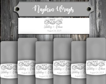 100 Wedding Napkin Wraps Cuffs Lace Theme - Printed - Personalized For Your Napkins