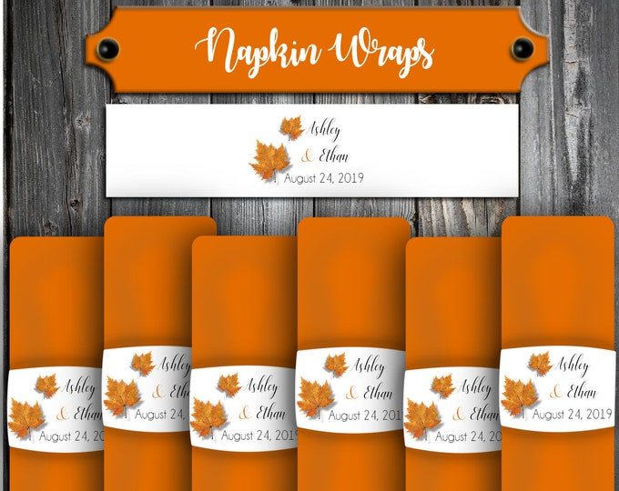100 Wedding Napkin Wraps Cuffs Fall Leaf Leaves - Printed - Personalized For Your Napkins Fall In Love