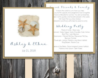 Beach Starfish Program Fans Kit - Printing included- Wedding ceremony programs