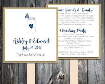 Mason Jar with Butterfly Program Fans Kit -  Printing Included. Wedding ceremony programs