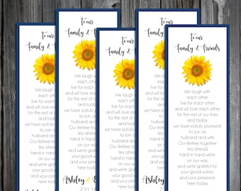 100 Wedding Bookmarks - Sunflower - Printed - Personalized - Wedding Favors