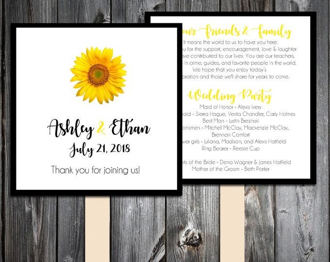 Sunflower Program Fans Kit - Printing Included. Wedding ceremony programs