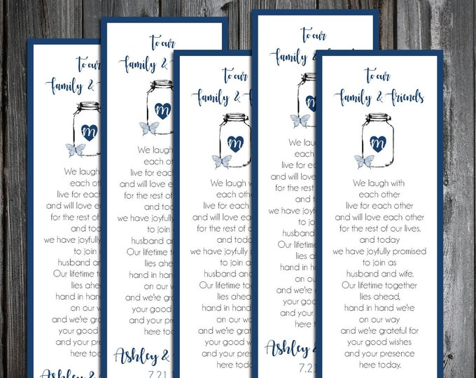 100 Wedding Bookmarks - Mason Jar with Butterfly - Printed - Personalized - Wedding Favors