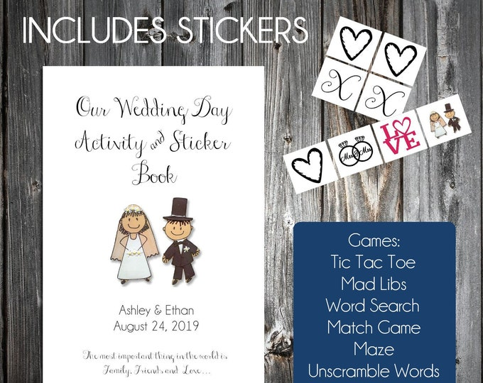 25 Wedding Day Activity, Coloring and Sticker Book - Wedding Games - Personalized and printed with Bride and Grooms names and wedding date