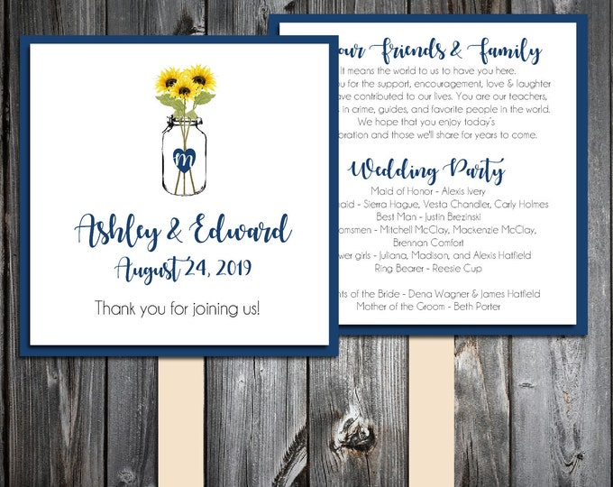 50 Wedding Program Fans Kit - Mason Jar with Sunflowers - Printed - Personlized