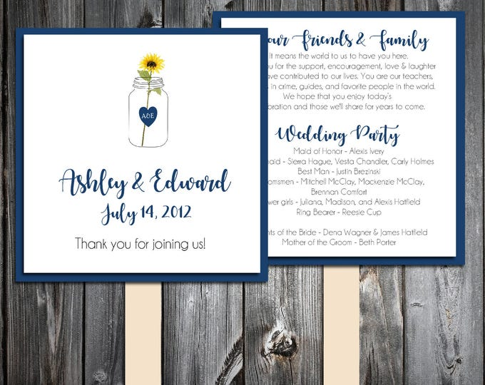 Mason Jar with Sunflower Program Fans Kit -  Printing Included. Wedding ceremony programs