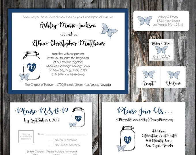 1800 Pieces Wedding Invitations Set - Mason Jar with Butterfly - RSVP - Inserts - Stickers - Printed - Personalized