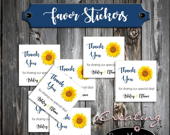 100 Sunflower Wedding Favor Stickers - Printed - Personalized Square labels are 2 inches by 2 inches.