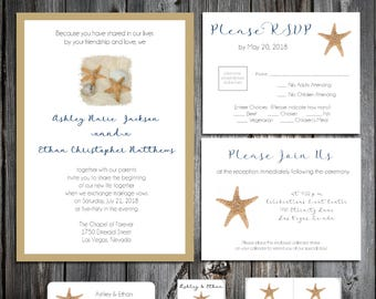 Beach Wedding Invitations, RSVP's, Reception Insert w/ FREE Calendar Stickers