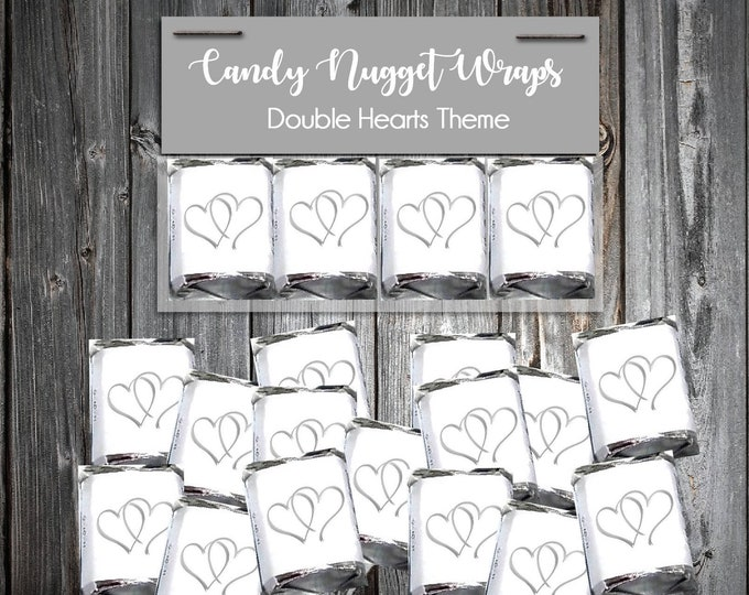 100 Candy Chocolate Wraps - Double Hearts - Personalized Wrappers - Printed - Wedding Favors