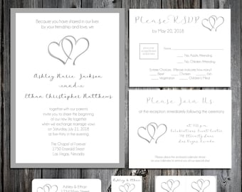 Hearts Wedding Invitations, RSVP's, Reception Insert w/ FREE Calendar Stickers