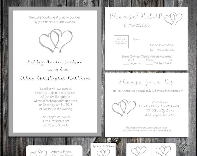 Hearts Wedding Invitations, RSVP's, Reception Insert w/ FREE Calendar Stickers