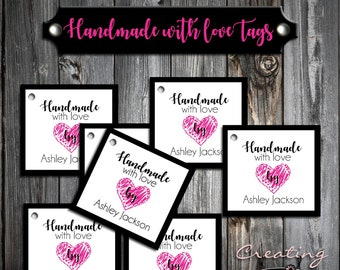 25 Handmade With Love Tags - Printed - Personalized - Thank You Favor Tags - Made with Love Business Product Hang Tags