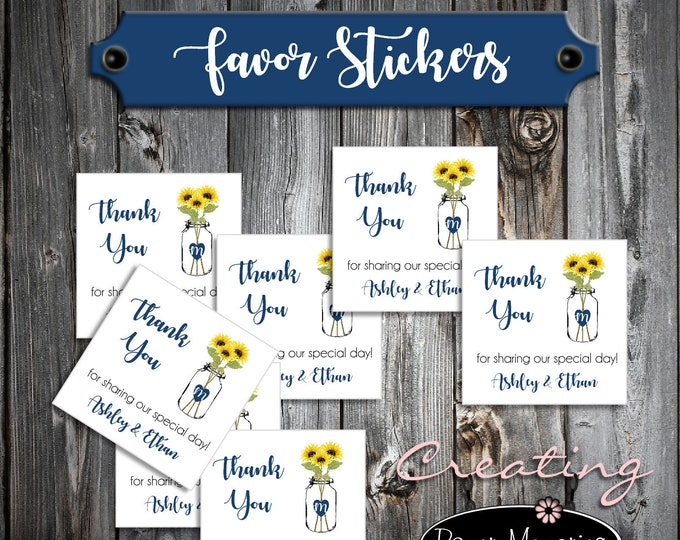 100 Wedding Favor Stickers - Mason Jar with Sunflower - Printed - Personalized - Square 2x2 Thank You Favors
