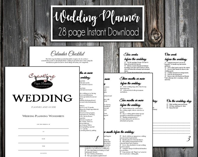 Wedding Planner Planning Guide 28 pages Digital Printable Instant Download PDF