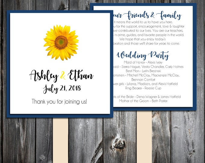 50 Wedding Program Fans Kit - Sunflower - Printed - Personlized