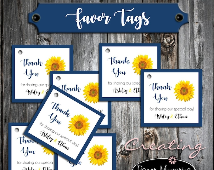 150 Sunflower Favor Tags - Printed - Personalized - Sunflowers Wedding favors