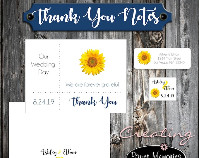 100 Sunflower Wedding Thank You Notes - Printed - Personalized