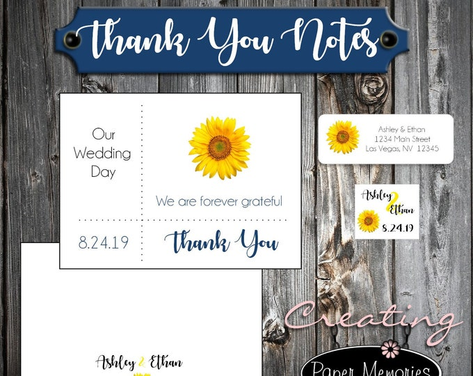 50 Sunflower Wedding Thank You Notes - Printed - Personalized