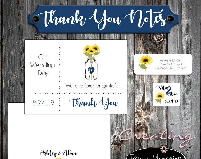 100 Wedding Thank You Notes - Mason Jar with Sunflower - Return Address Labels - Envelope Seals - Printed - Personalized