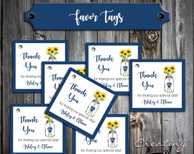 75 Wedding Favor Tags - Mason Jar with Sunflowers - Printed - Personalized - Wedding Favors
