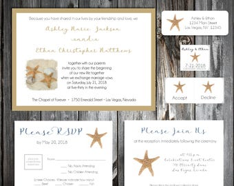 Beach Starfish Wedding Invitations, RSVP's, Reception Insert w/ FREE Calendar Stickers