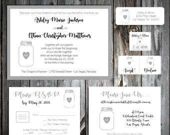 150 Mason Jar Wedding Invitations, RSVP's, Reception Insert w/ FREE Calendar Stickers