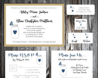 Mason Jar with Butterfly Wedding Invitations, RSVP's, Reception Insert w/ FREE Calendar Stickers