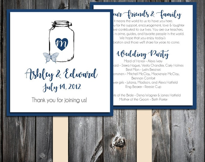 50 Wedding Program Fans Kit - Mason Jar with Butterfly - Printed - Personlized